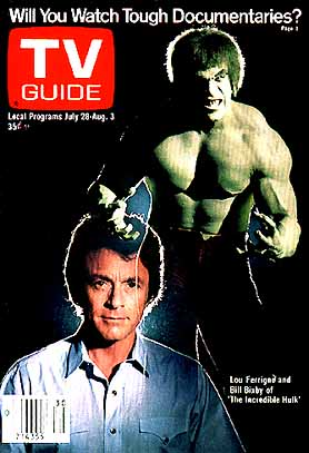 Bill Bixby and Lou Ferrigno in The Incredible Hulk (TV Guide)