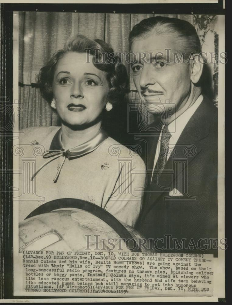1954_Press_Photo_Actors_Ronald_Colman_and_Benita_Hume_Colman_-_nox13025