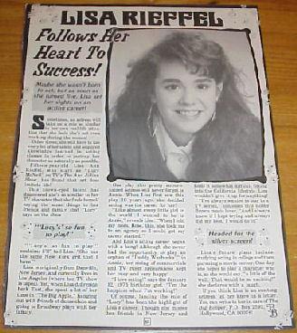 LISA RIEFFEL Teen Magazine Clipping ANN JILLIAN SHOW