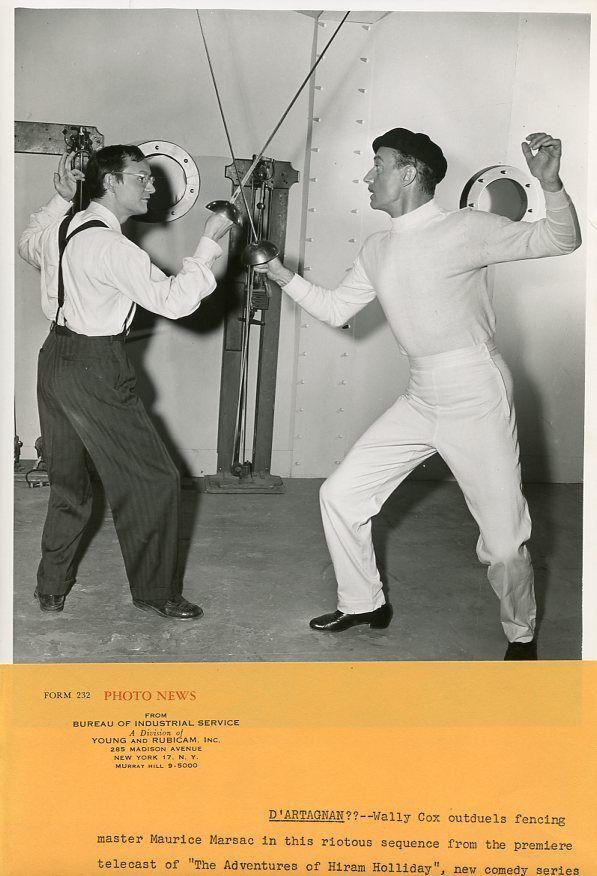 WALLY_COX_FENCING_MAURICE_MARSAC_ADVENTURES_OF_HIRAM_HOLLIDAY_1956_NBC_TV_PHOTO