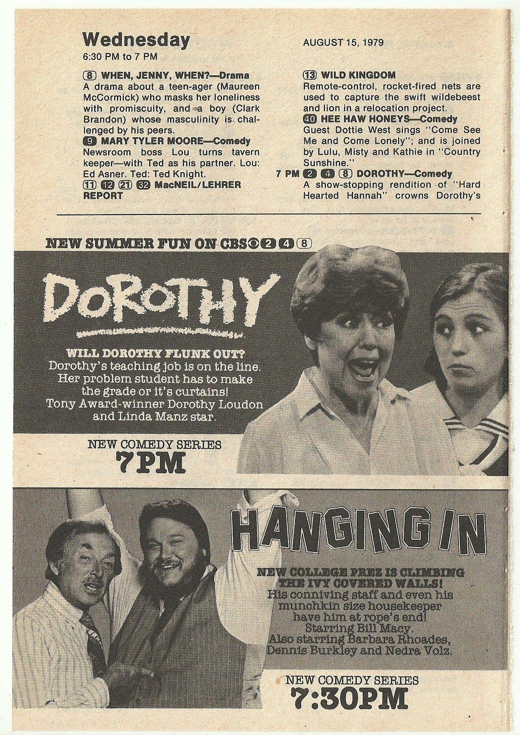 HANGING_IN_1979_Magazine_Ad_DENNIS_BURKLEY_Bill_Macy_DOROTHY_LOUDON_Linda_Manz