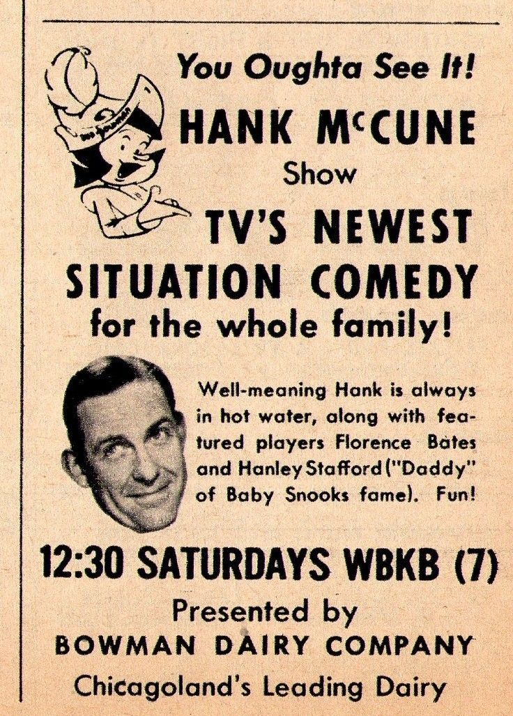 1954_WBKB_tv_ad_The_Hank_McCune_Show_Bowman_Dairy_Company