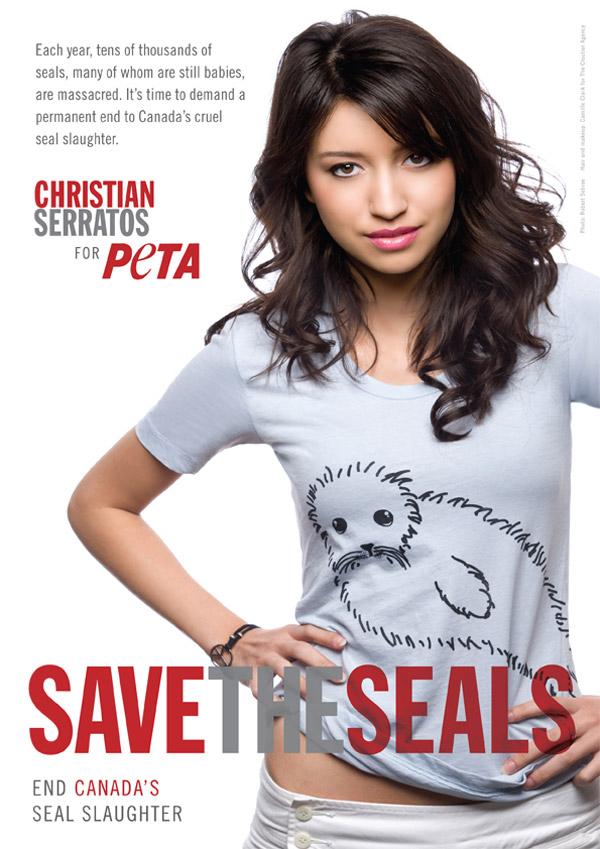 Christian Serratos Suzie Crabgrass Save The Seals Peta Ad