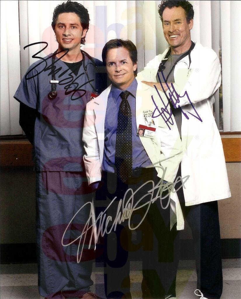 REPRINT_RP_8x10_Autographed_Photo_Picture_Scrubs_Cast_with_Michael_J_Fox