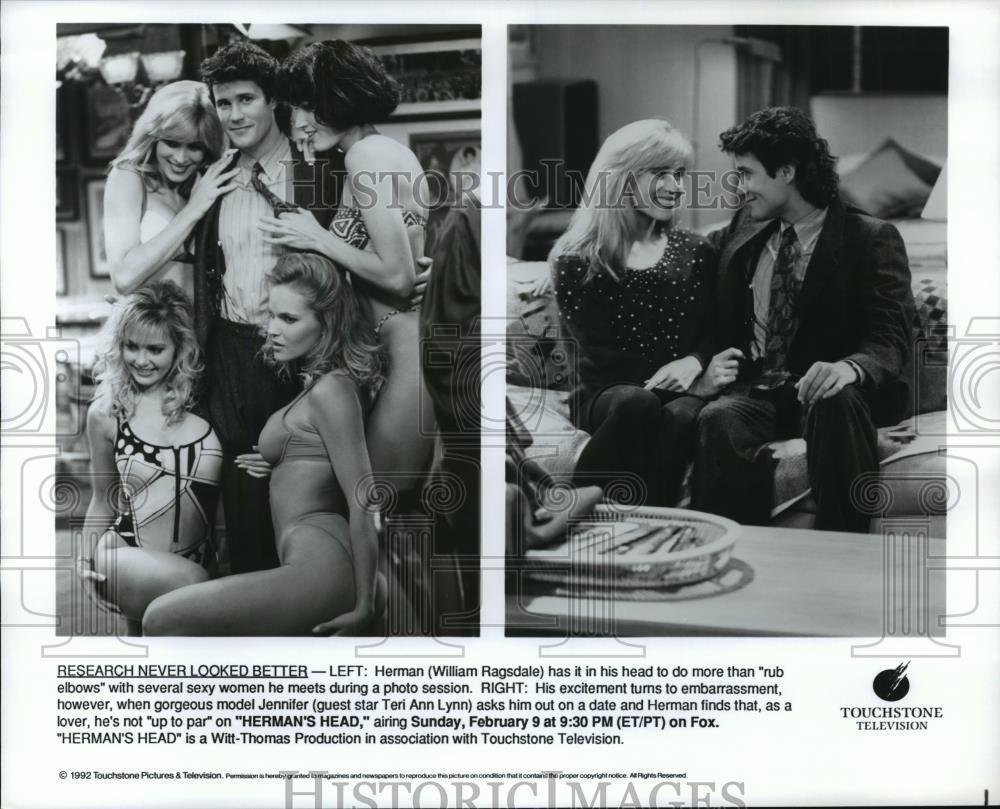 1992_Press_Photo_William_Ragsdale_and_Teri_Ann_Lynn_in_Herman_s_Head_on_Fox_