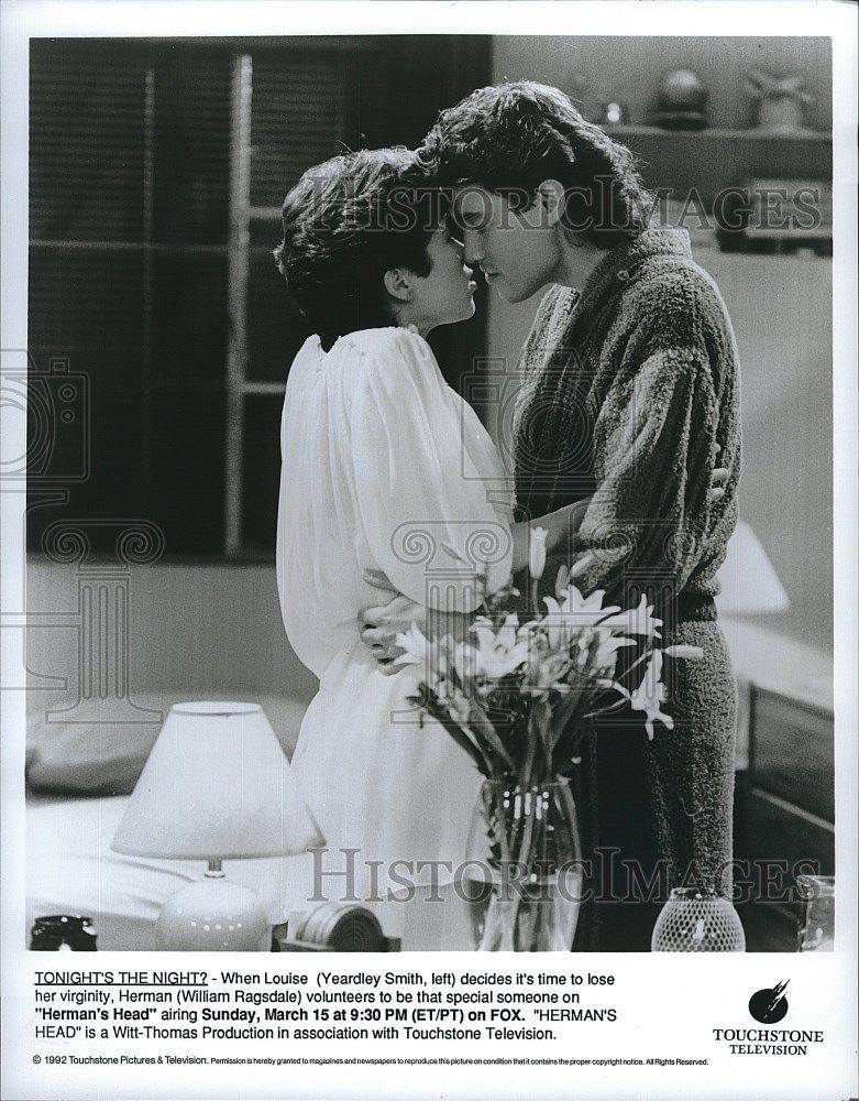 1992_Press_Photo_Yeardley_Smith_Actress_William_Ragsdale_Actor_Herman_s_Head_TV