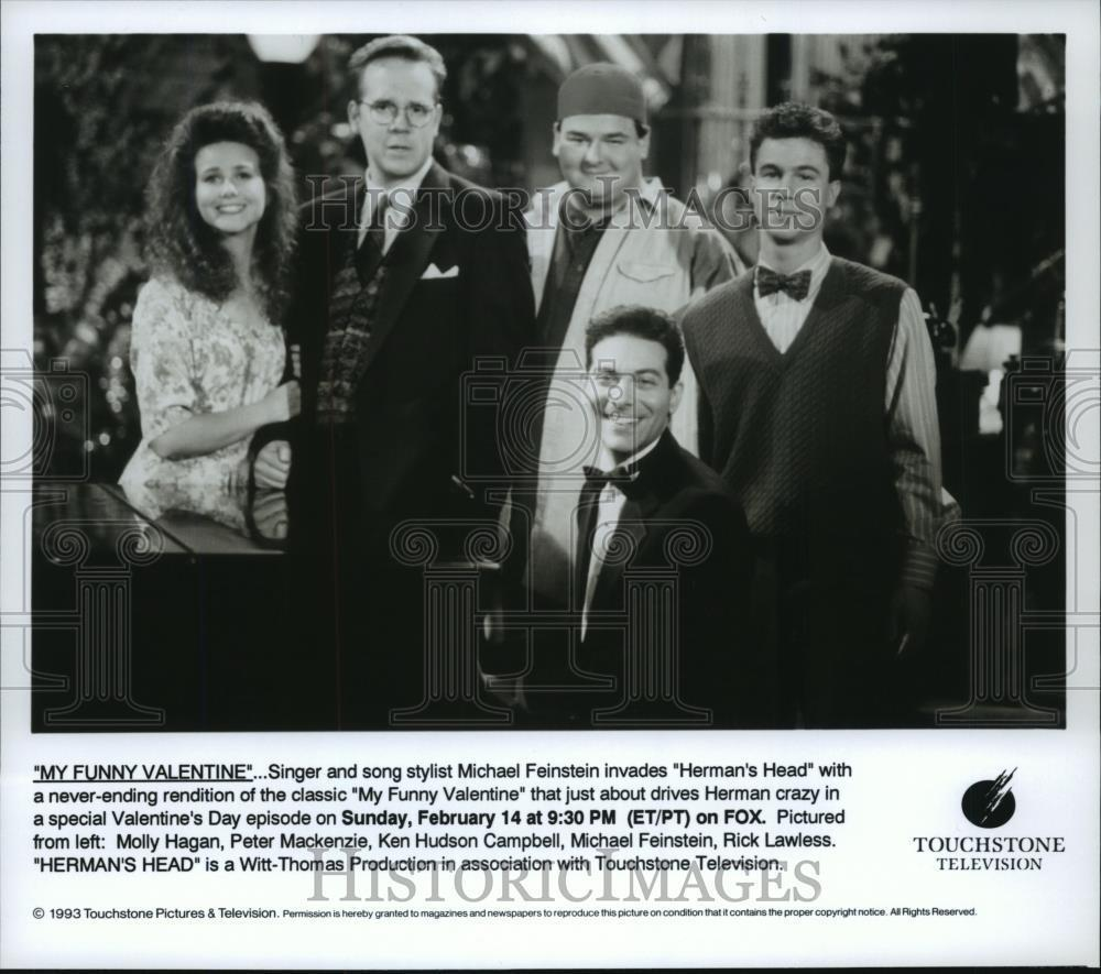 1993_Press_Photo_Michael_Feinstein_Ken_Hudson_Rick_Lawless_on_Herman_s_Head_