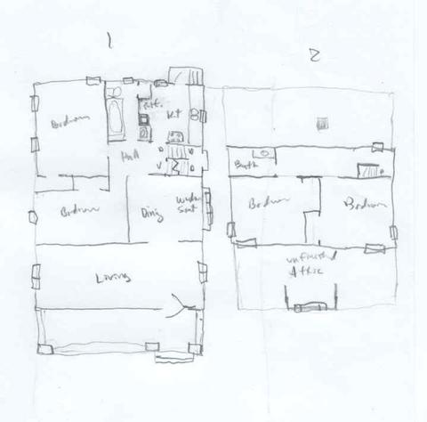 drawing of floor plans of the conner house - Roseanne House Plans