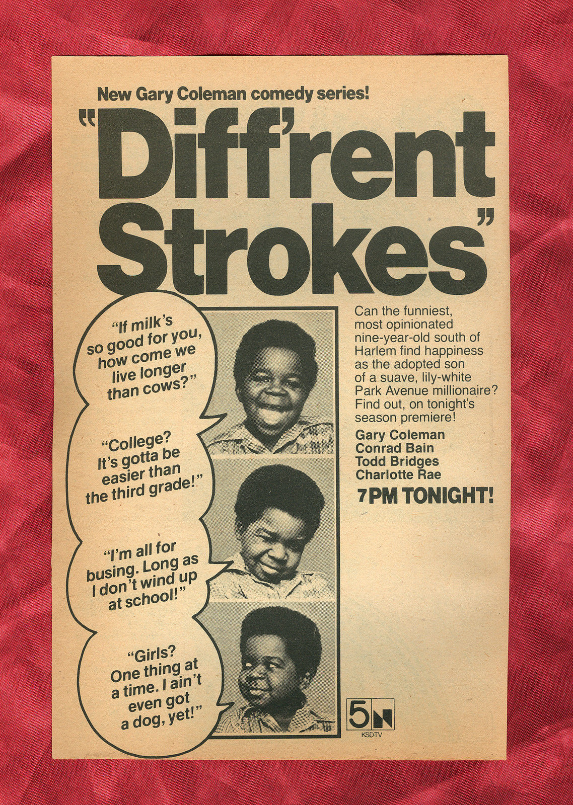 Diff_rent_Strokes_Premiere_Original_1978_TV_Guide_Ad_Clippings_NBC_Gary_Coleman