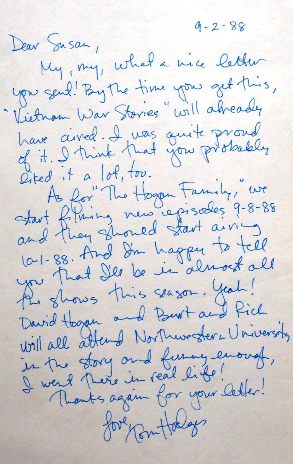 Tom_Hodges_rare_hand_written_letter_autograph_1988_The_Hogan_Family