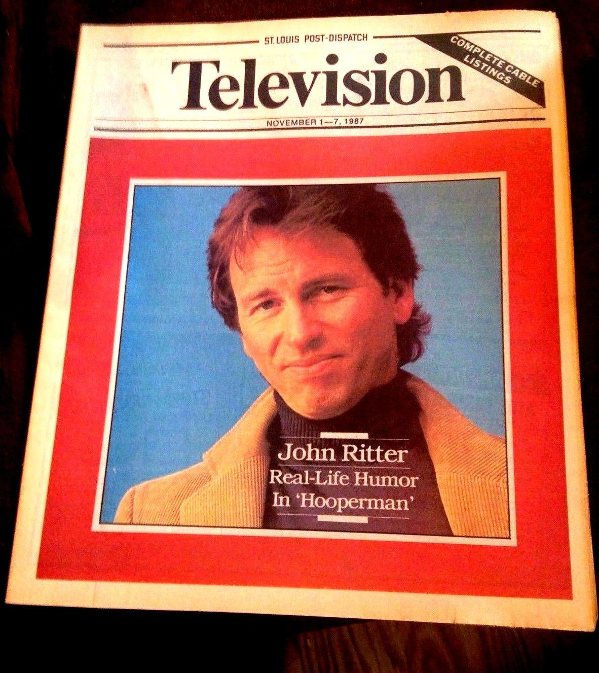 TV_GUIDE_JOHN_RITTER_IN_COMEDY_11-1-87_ST_LOUIS_NEWSPAPER_RARE_NM