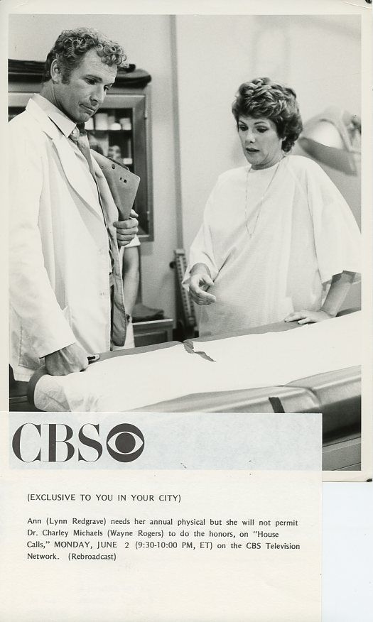 WAYNE_ROGERS_LYNN_REDGRAVE_HOUSE_CALLS_ORIGINAL_1980_CBS_TV_PHOTO