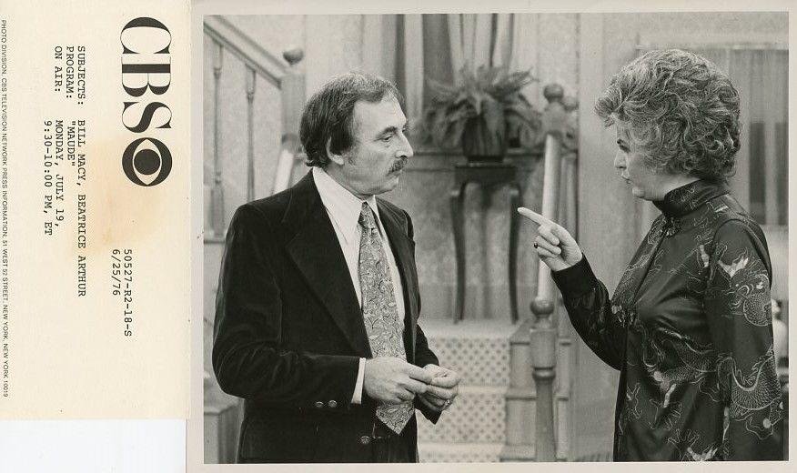 BEATRICE_ARTHUR_BILL_MACY_PROFILE_MAUDE_TV_SHOW_ORIGINAL_1976_CBS_TV_PHOTO
