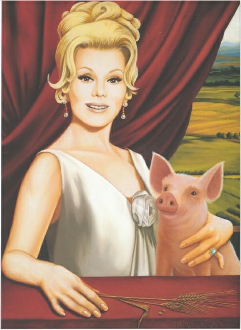 Green_Acres_Eva_Gabor_and_Arnold_Ziffel_Pig_by_Isabel_Samaras_Art_Large_Postcard