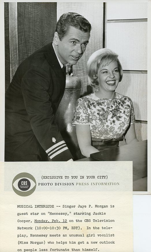 JAYE_P_MORGAN_JACKIE_COOPER_SMILING_PORTRAIT_HENNESEY_ORIGINAL_1962_CBS_TV_PHOTO