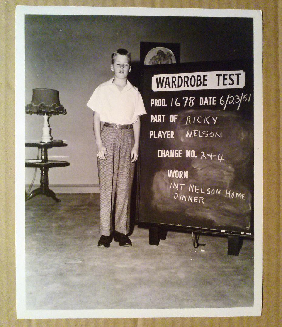 8x10_Photo_Ozzie_Harriet_Show_Ricky_Nelson_Wardrobe_Test_shot_1951