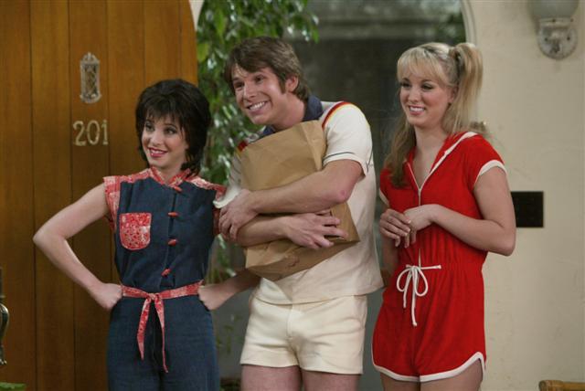 Kerry as Janet Wood, Kyle as Jack Tripper, Bridget as Chrissy
