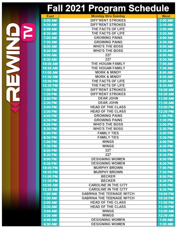 Rewind TV Fall 2021 Schedule