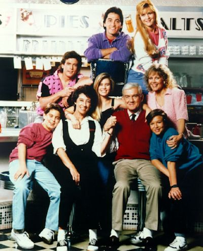 Nicole Eggert with cast of Charles in Charge